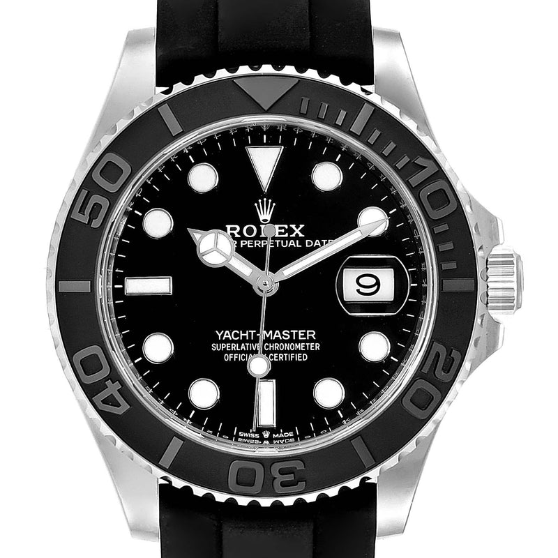 Men's Rolex Yachtmaster White Gold Black Rubber Strap Watch 226659 Unworn PRE-OWNED