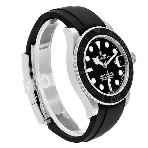 Men's Rolex Yachtmaster White Gold Black Rubber Strap Watch 226659 Unworn PRE-OWNED - Global Timez