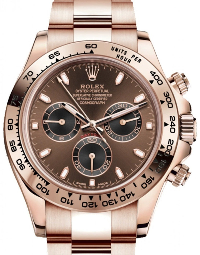 Men's Rolex Cosmograph Daytona 40mm Chocolate Dial Everose Gold Bezel Oyster Bracelet 116505 - BRAND NEW