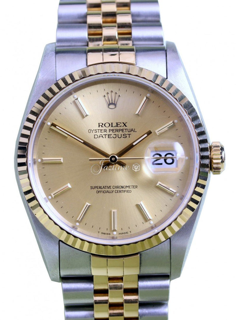 Rolex Datejust 16233 Men's 36mm Champage Index 18k Yellow Gold Stainless Steel Jubilee PRE-OWNED