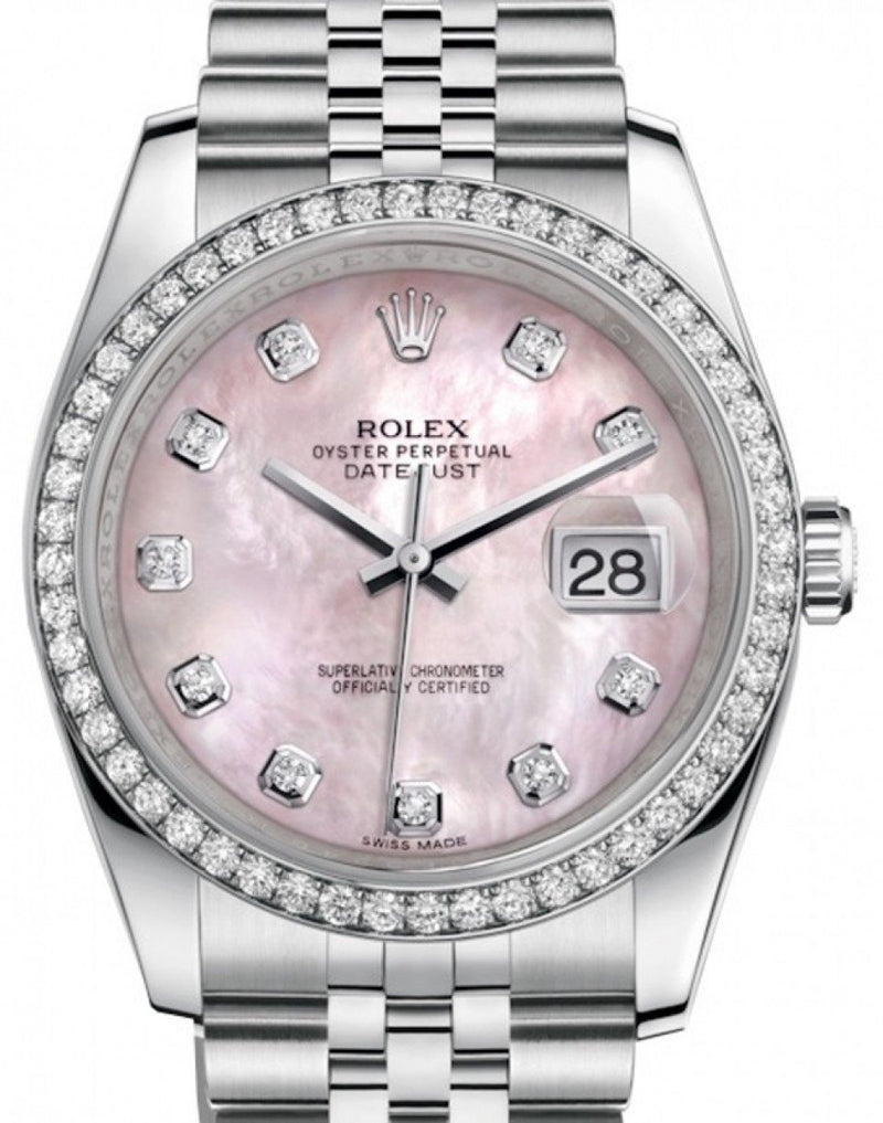 Men's Rolex Datejust 36 Stainless Steel Pink Mother Of Pearl Diamond Dial & Bezel Jubilee Bracelet 126200 - BRAND NEW