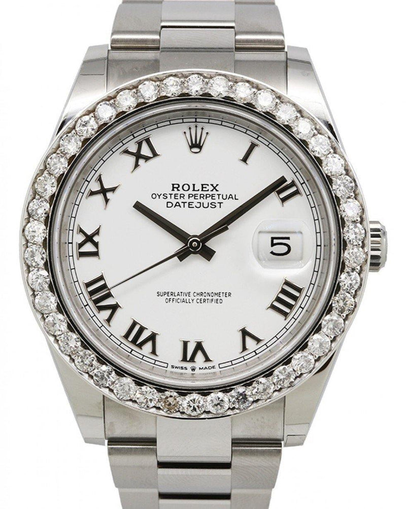Men's Rolex Datejust 41 Stainless Steel White Roman Dial Diamond Bezel Oyster Bracelet 126300 - BRAND NEW