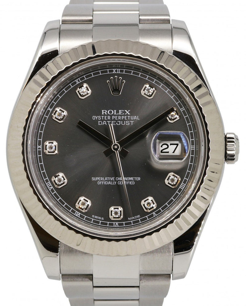 Men's Rolex Datejust II Stainless Steel & White Gold 41mm Grey Slate Rhodium Diamond Dial White Gold Fluted Bezel 116334 - PRE-OWNED