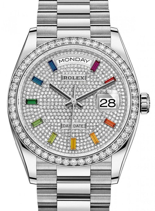 Men's Rolex Day-Date 36 Diamond Pave Dial & Bezel White Gold President Bracelet 128349RBR - BRAND NEW - Global Timez