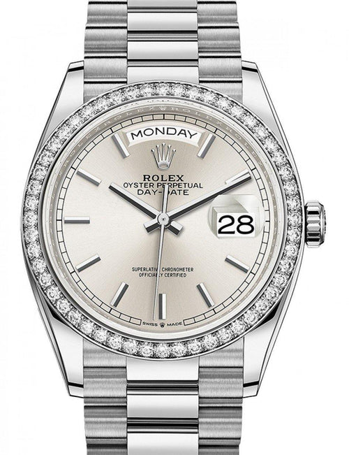 Men's Rolex Day-Date 36 Silver Dial Diamond Bezel White Gold President Bracelet 128349RBR - BRAND NEW - Global Timez