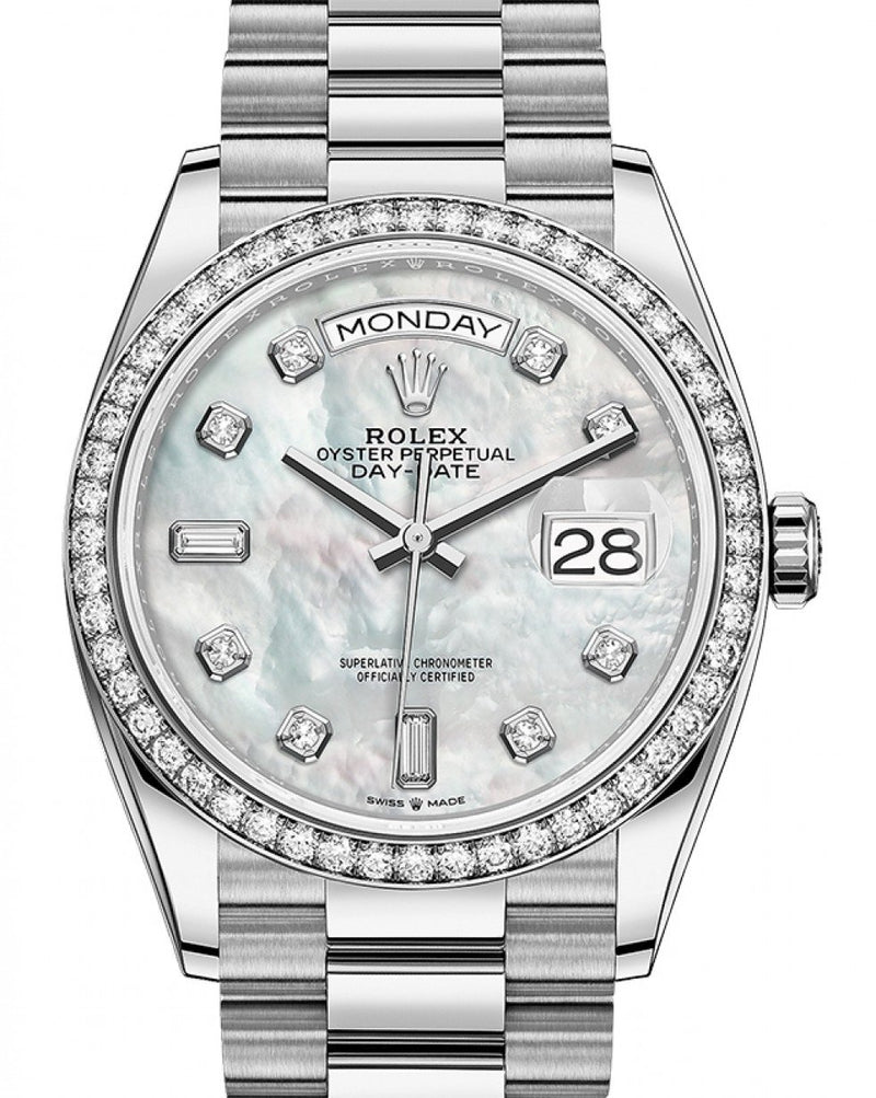 Men's Rolex Day-Date 36 White MOP Diamond Dial & Bezel White Gold President Bracelet 128349RBR - BRAND NEW