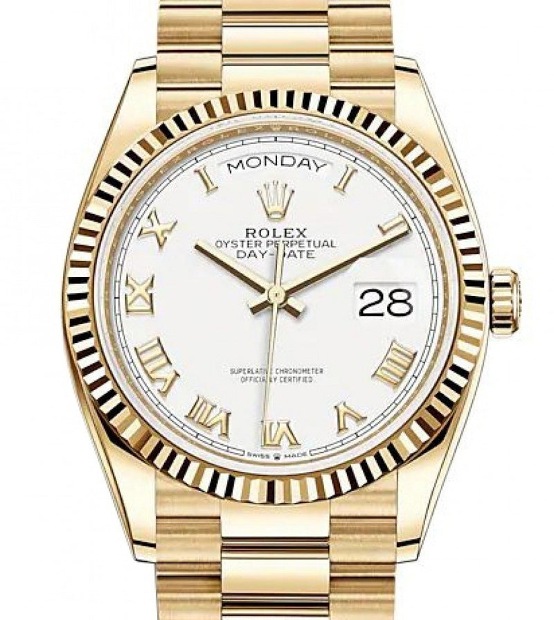 Ladies Rolex Day-Date 36 Yellow Gold White Roman Dial & Fluted Bezel President Bracelet 128238 - BRAND NEW