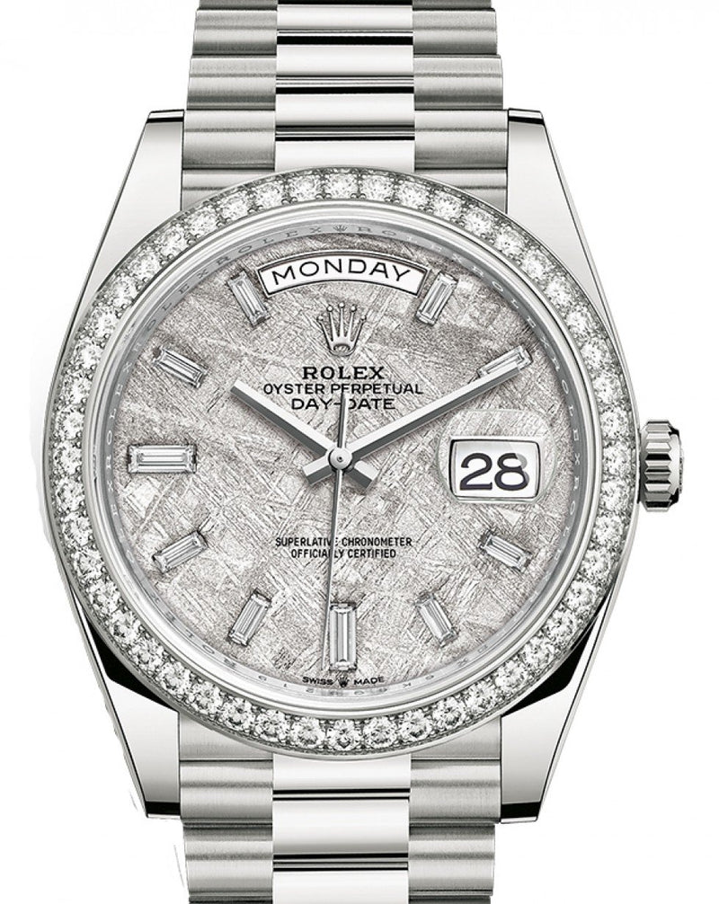 Men's Rolex Day-Date 40 White Gold Meteorite Dial & Diamond Bezel President Bracelet 228349RBR - BRAND NEW