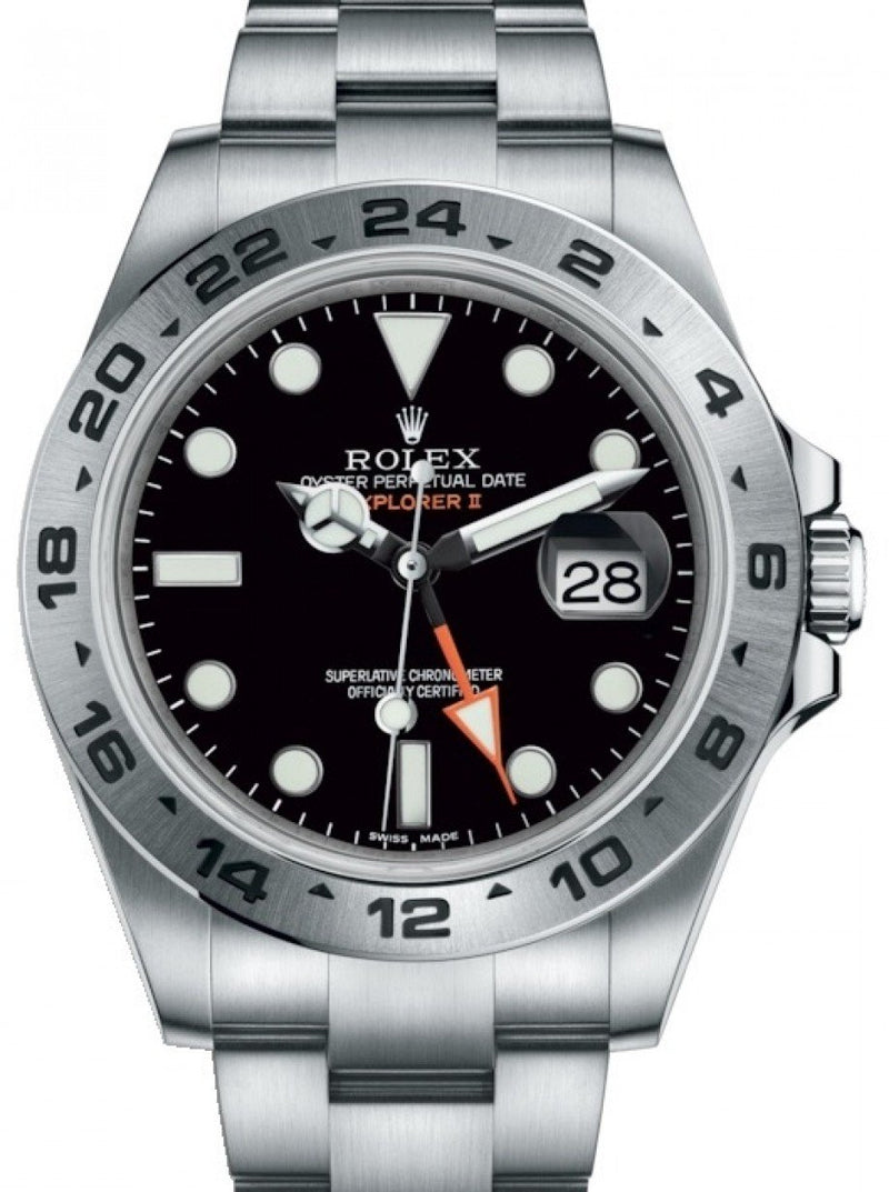 "Men's Rolex Explorer II ""Steve McQueen"" GMT Stainless Steel Black Dial 42mm Oyster Bracelet 216570 - BRAND NEW"