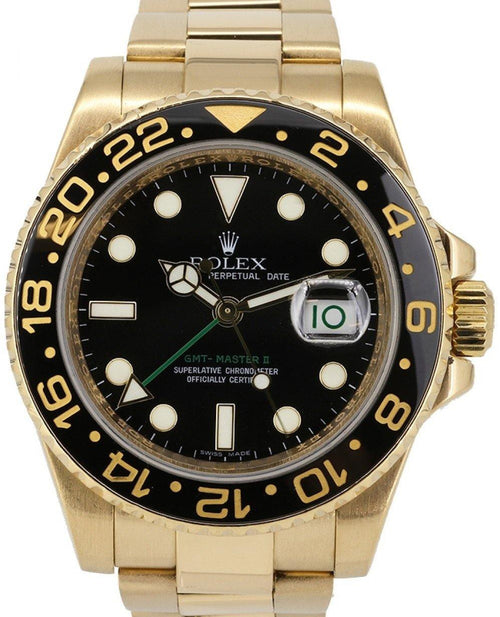 Men's Rolex GMT-Master II Yellow Gold Black Dial & Black Ceramic Bezel Oyster Bracelet 116718LN - PRE-OWNED - Global Timez