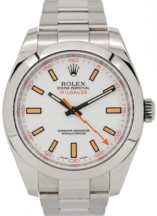 Men's Rolex Milgauss Stainless Steel White Dial Smooth Bezel Oyster Bracelet 116400 - PRE-OWNED - Global Timez