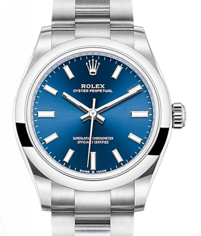 Ladies Rolex Oyster Perpetual 31 Stainless Steel Blue Index Dial & Smooth Bezel Oyster Bracelet 277200 - BRAND NEW
