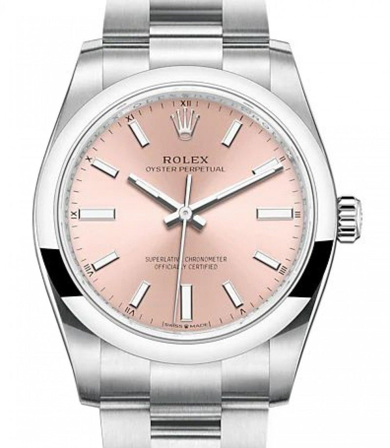 Ladies Rolex Oyster Perpetual 34 Stainless Steel Pink Index Dial & Smooth Bezel Oyster Bracelet 124200 - BRAND NEW