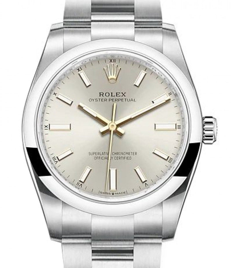 Ladies Rolex Oyster Perpetual 34 Stainless Steel Silver Index Dial & Smooth Bezel Oyster Bracelet 124200 - BRAND NEW