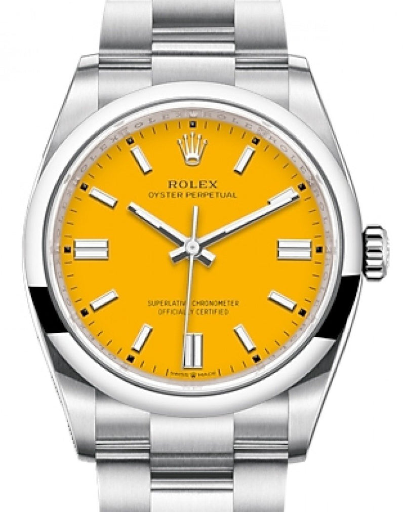 Men's Rolex Oyster Perpetual 36 Stainless Steel Yellow Index Dial & Smooth Domed Bezel Oyster Bracelet 126000 - BRAND NEW