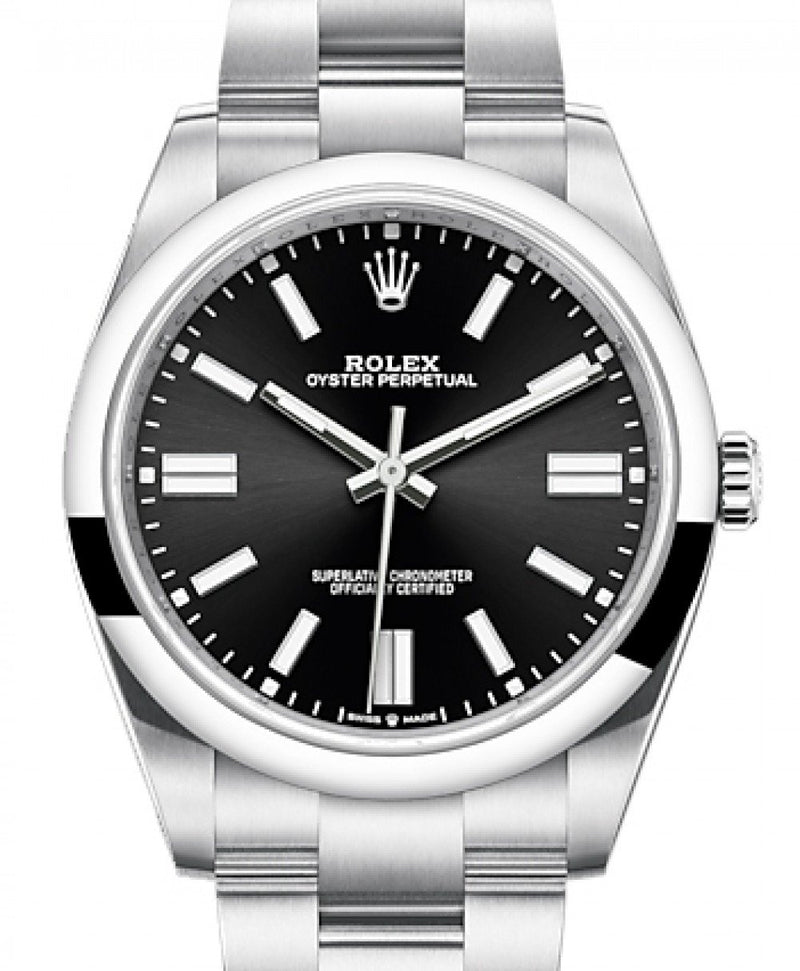 Men's Rolex Oyster Perpetual 41 Stainless Steel Black Index Dial & Smooth Bezel Oyster Bracelet 124300 - BRAND NEW