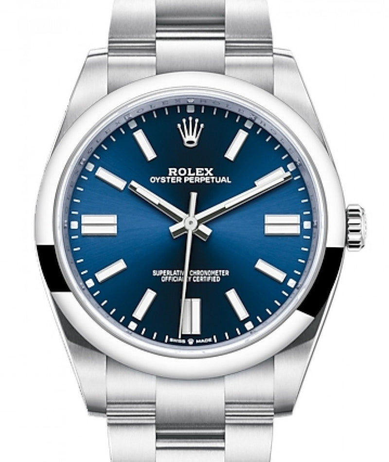 Men's Rolex Oyster Perpetual 41 Stainless Steel Blue Index Dial & Smooth Bezel Oyster Bracelet 124300 - BRAND NEW