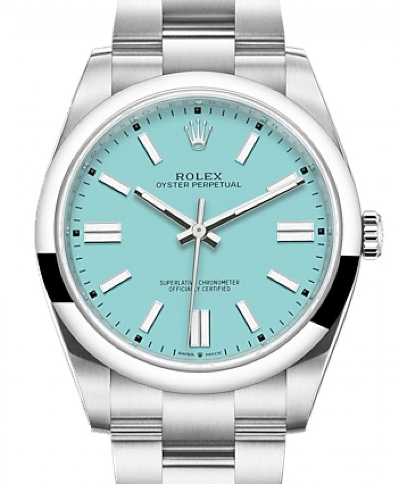 Men's Rolex Oyster Perpetual 41 Stainless Steel Turquoise Index Dial & Smooth Bezel Oyster Bracelet 124300 - BRAND NEW