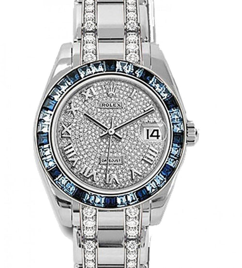 Men's Rolex Pearlmaster Masterpiece Diamond Paved Roman Dial Blue Sapphire Baguettes Bezel White Gold Braclet 34mm 81349SA PRE-OWNED - Global Timez