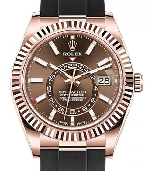 Men's Rolex Sky-Dweller Rose Gold Chocolate Index Dial Fluted Bezel Rubber Strap 326235 - BRAND NEW - Global Timez