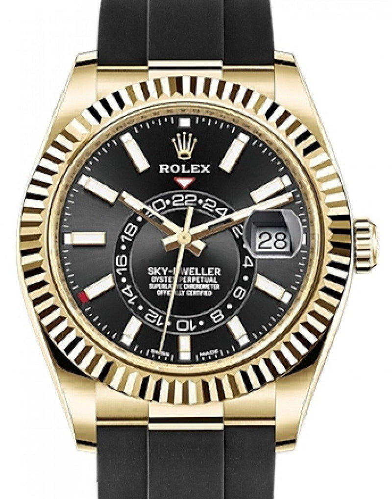 Men's Rolex Sky-Dweller Yellow Gold Black Index Dial Fluted Bezel Rubber Strap 326238 - BRAND NEW