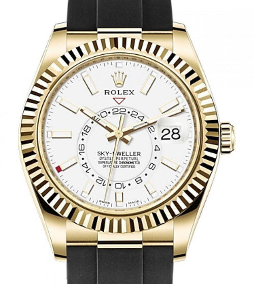 Men's Rolex Sky-Dweller Yellow Gold White Index Dial Fluted Bezel Rubber Strap 326238 - BRAND NEW - Global Timez