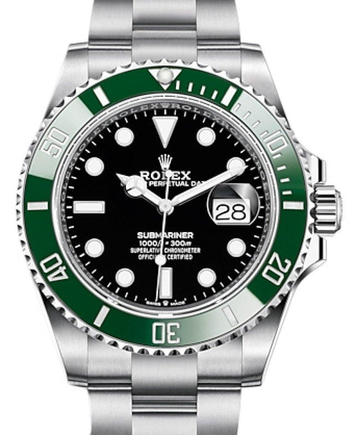 Men's Rolex Submariner Date Stainless Steel Black Dial & Green Ceramic Bezel Oyster Bracelet 126610LV - BRAND NEW - Global Timez