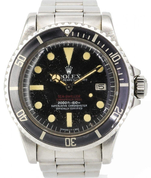 "Men's Rolex Vintage Sea-Dweller Submariner ""Double Red"" Stainless Steel Black Dial & Bezel Oyster Bracelet 1665 - PRE-OWNED - Global Timez"