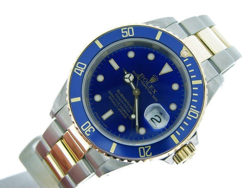 Men's Rolex Two-Tone 18K/SS Submariner Blue 16613 PRE-OWNED - Global Timez