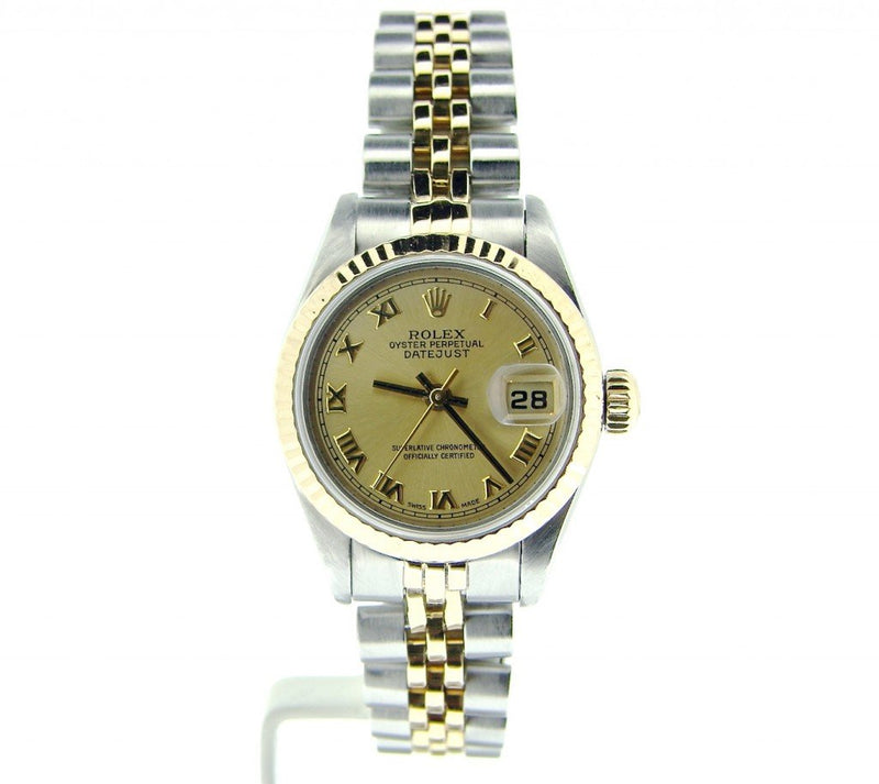 Ladies Rolex Two-Tone 18K/SS Datejust Champagne Roman 69173 PRE-OWNED