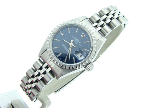 Ladies Rolex Stainless Steel Date Blue 69240 PRE-OWNED - Global Timez