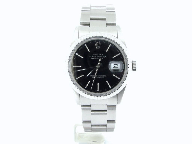 Men's Rolex Stainless Steel Datejust Black 16030 PRE-OWNED