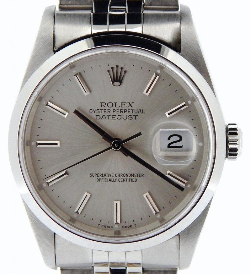 Men's Rolex Stainless Steel Datejust Silver 16200 PRE-OWNED