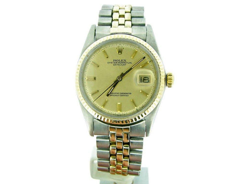Men's Rolex Two-Tone 14K/SS Datejust Champagne 1601 PRE-OWNED - Global Timez