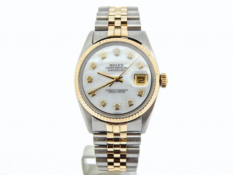 Men's Rolex Two-Tone Datejust White MOP Diamond 1601 PRE-OWNED
