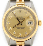 Men's Rolex Two-Tone Datejust Champagne Diamond 1601 PRE-OWNED