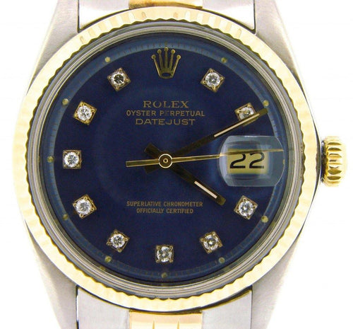 Men's Rolex Two-Tone Datejust Blue Diamond 1601 PRE-OWNED - Global Timez