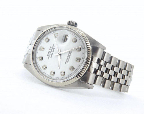 Men's Rolex Stainless Steel Datejust White Diamond 1601 PRE-OWNED - Global Timez