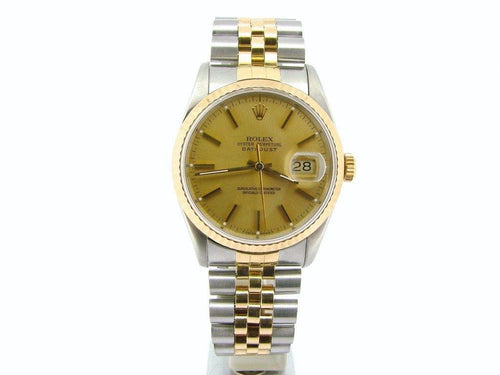 Men's Rolex Two-Tone 18K/SS Datejust Champagne 16233 PRE-OWNED - Global Timez