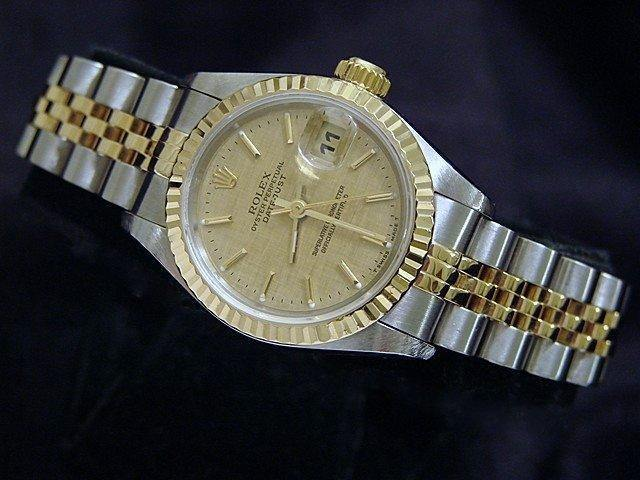 Ladies Rolex Two-Tone 18K/SS Datejust Gold Linen 69173 PRE-OWNED - Global Timez