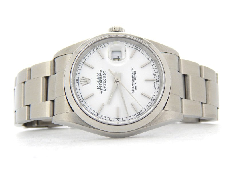 Men's Rolex Stainless Steel Datejust White 16200 PRE-OWNED