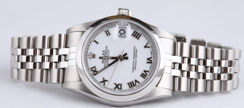 Ladies Rolex Datejust 68240 White Roman Dial Diamond Bezel Stainless Auto Watch PRE-OWNED