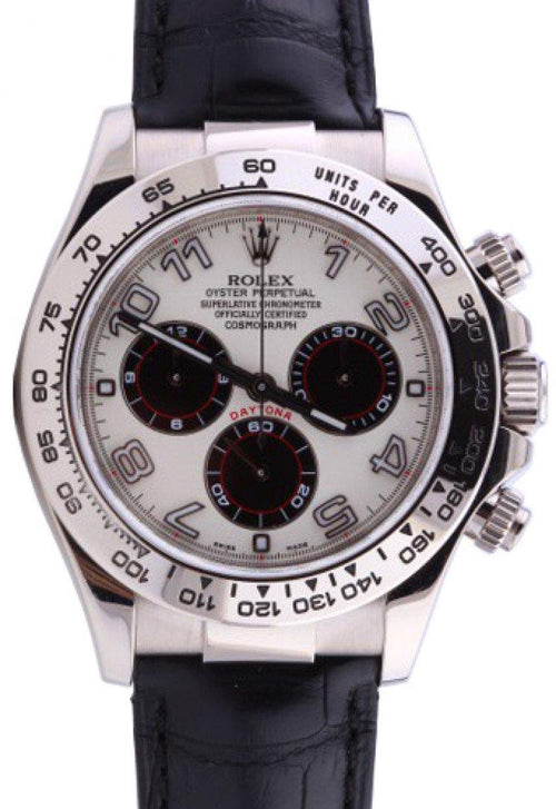 Men's Rolex Daytona 116519 White Arabic Black Subdials Black Leather BRAND NEW - Global Timez
