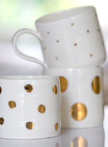 Gold Lustre cup with large spots