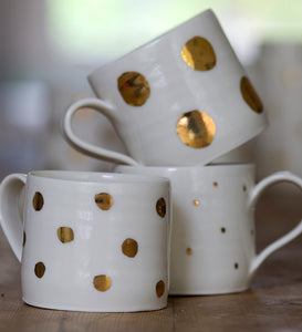 Gold Lustre porcelain cup with large spots