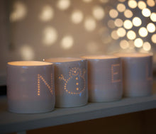 Load image into Gallery viewer, Noel snowman letter mini porcelain tealight holder set