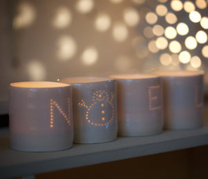 Noel snowman letter mini porcelain tealight holder set