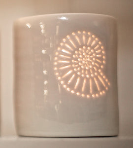 Ammonite mini porcelain tealight holder