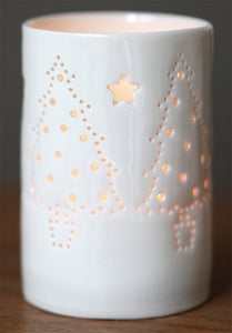 Christmas trees maxi porcelain tea light holder