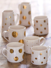 Load image into Gallery viewer, Gold Lustre porcelain mug with medium spots